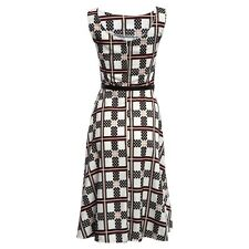 Women Plaid Printed Cocktail Party O Neck Sleeveless Ball Gown Dress NR721