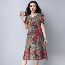Plus Size Vintage Print Casual Loose Summer Party Dress for Women