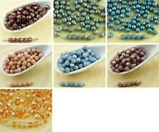 100pcs Luster Czech Glass Round Faceted Fire Polished Beads Small Spacer 4mm