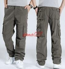 Mens Cargo Baggy outdoor Trousers Loose Fit Casual Overalls Work Pants Sz 28-40