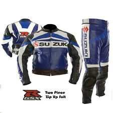 SUZUKI GSX MOTORCYCLE MOTORBIKE BIKER 2 PIECE COWHIDE LEATHER ARMOURED SUIT