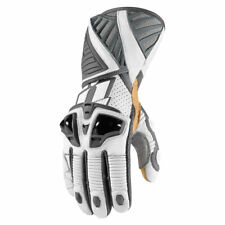 Icon Mens White/Grey Leather Hypersport Pro Motorcycle Long Gloves