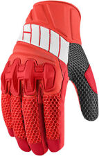 Icon Mens Red/Grey Leather/Textile Mesh Overlord Motorcycle Gloves