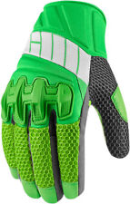 Icon Mens Green/Grey Leather/Textile Mesh Overlord Motorcycle Gloves
