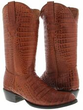 Men's Cognac Brown Full Crocodile Alligator Western Leather Rodeo Cowboy Boots