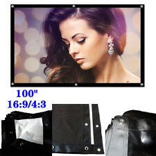 "Portable 100"" 16:9/4:3 White + Black UC913 Projection Screen HD Movie Cinema"