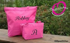 Personalized tote lunch box combo insulated lunch monogram back to school gift