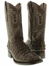 Mens Brown Crocodile Tail Leather Western Rodeo Cowboy Riding Square Boots