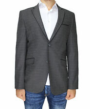 Heather Grey Pure Wool Semi-Slim Fit Blazer with Taping