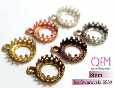 15pcs 8mm Round Bezel Cup Brass with 1 loop Finishes: Brass, Silver, Copper