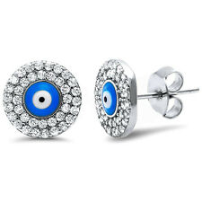 10mm Evil Eye Earrings 925 Sterling Silver Round CZ Evil Eye Stud Earring
