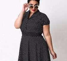 Plus Size Summer Polka Dot Patern Casual Wear Party Dress for Women