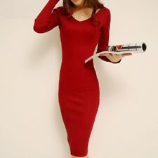 Winter V Neck Full Sleeve Knee Length Sheath Long Dress For Women AK533