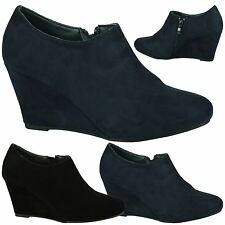 Maddy Womens Mid High Wedges Heels Zip Up Ankle Boots Ladies Shoes Booties Size