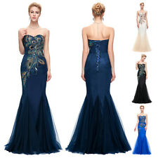 Long Peacock Wedding Bridesmaid Formal Evening Prom Gown Formal Dress
