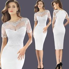 Women Embroidered See Through Short Sleeve Mesh Lace Party Knee-length Dress