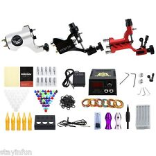 Solong Complete Tattoo Kit 3 Rotary Equipment Machine Guns with Power Supply