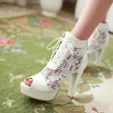 Womens mesh lace Pieced Ankle Bootie Platform High chunky Heel peep toe shoes