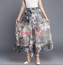 Womens Fashion Casual Wide Leg Pants loose Trousers Floral Print Chiffon cropped