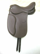 """Beautiful Brown Dressage Synthetic Saddle sizes 16"""", 17"""" & 17.5"""" Free postage"""