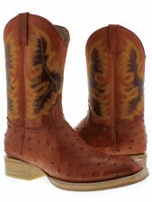 Mens Cognac Brown Ostrich Western Leather Cowboy Rodeo Boots