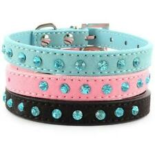 Hot New Pet Dog Velvet PU Leather Collar Puppy Cat Crystal Rhinestone Neck Strap