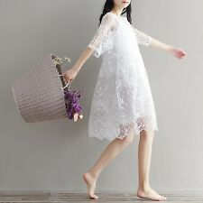 White Color High Waist Embroidery Lace O Neck Plus Size Women Dress