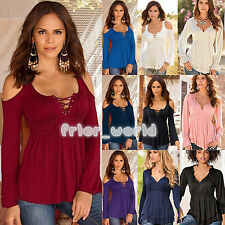 Fashion Womens V Neck Long Sleeve Pleated Draped T-shirt Blouse Casual Top Shirt