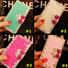 Handmade Bling Crystal Diamonds PU leather flip stand wallet Phone case cover #H