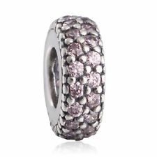 New authentic sterling silver PinkAAA CZ Pave Big Hole Crystal Spacer Charm Bead