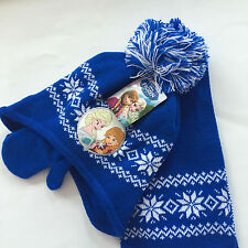Lot Princess knit beanie hat children winter knitted  scarf gloves hat set M739