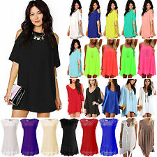Womens Boho Chiffon Mini Dresses Summer Holiday Beach Casual Sundress S M L XXXL