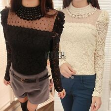 New Stylish Lady Women's Fashion Long Sleeve O-Neck Sexy Lace Top Blouse KECP01