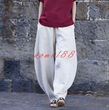 Loose Baggy Pants Fashion Womens Cotton Linen Wide Leg harem Trousers bloomers