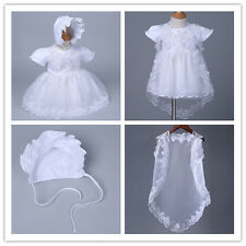 Infant Baby Girl Wedding Baptism Christening Easter Gown Flower Dress + Bonnet