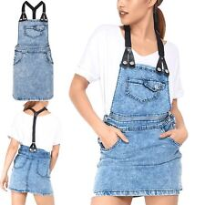 Womens Ladies Unzipped Pockets Playsuit Denim Braces Pinafore Jumpsuit Dungaree