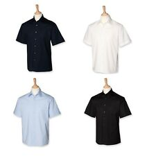 Mens Gents Short Sleeved Semi-fitted Stretch Cotton Mix Shirt Black White H546