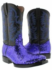 Women's Blue Sequins Western Rodeo Cowboy Boots Square Toe