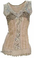 NEW Pretty Angel Clothing Mercer Women's Vintage Corset Top In Caramel 67642