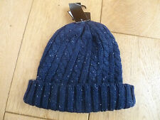 CEDAR WOOD STATE CHUNKY CABLE AND RIB KNIT BEANIE HAT ONE SIZE GREY BLUE FLECKS