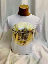 SHINING SALE Mens White T Shirt Front Gold Patch Sports Wear -Buy Now