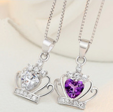 925 Sterling Silver Amethyst Clear CZ Gem Crown Heart Pendant Necklace ​​​​​​​UK