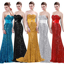 Mermaid Sequins Formal Party Maxi Dress Evening Cocktail Gown Wedding Bridesmaid