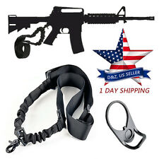 HOT AR 15 Single Point Sling Adapter Plate Mount Rifle Sling Tactical Bungee USA