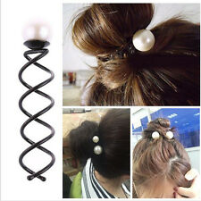 2X Girl's Pearl Spiral Spin Screw Bobby Hair Pin Clip Twist Barrette Accessory