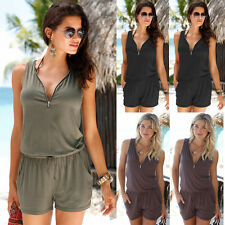 UK Womens Sleeveless V Neck Casual Playsuit Ladies Jumpsuit Summer Beach Dress