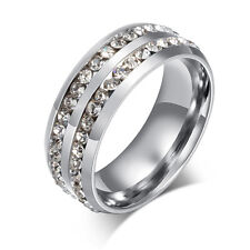 Women's Ring Stainless Steel Clear Crystal Rings -Silver-Gold-Black Size 6-13