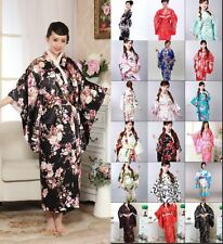 Japanese Kimono Vintage Yukata Haori Costume Retro Geisha Dress Obi Cosplay Gown