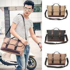 Mens Vintage Real Leather School Shoulder Bag Satchel Military Messenger Retro