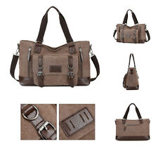Men's Vintage Leather Canvas bag Messenger Shoulder Retro Travel Gym Bag Duffle